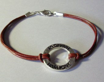 One Of A Kind - Harmony CIrcle Charm Leather Bracelet - BOHO Leather Bracelet -  Blue -  Leather w/ silver charm - Made In Usa