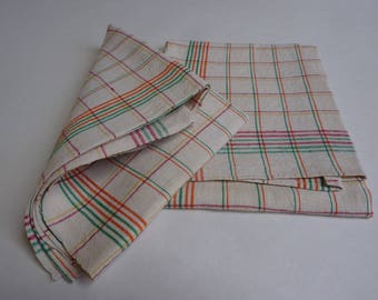 French Vintage Tea Towel, Torchon, Dish Cloth, Dish Towel, Linen, Cotton, Metis, Checked Orange, Green, Red and Yellow, Unused.