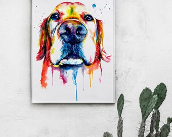 Colorful Golden Retriever Art Poster of my Original Watercolor Painting