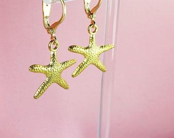 Starfish Earrings, Gold Beach Earrings, Beach Earrings, Gold Starfish Earrings, Summer Earrings, Starfish Accessories, Gold Lever Backs