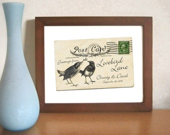Unique Engagement Gift Old Postcard Lovebirds Wedding Gift Decor Romantic Wedding Keepsake For Couples Bride and Groom Personalized Wedding
