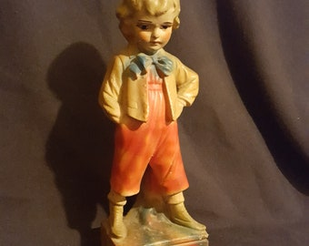 """Large 13"""" carnival chalkware figurine victorian boy statue fair game prize figure shabby chic decor collectible"""