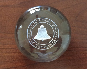 Vintage The Bell Telephone Company Of Pennsylvania Glass Paperweight