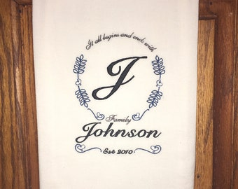 Custom embroidered kitchen towel - flour sack dish towel, family gift, anniversary gift, wedding present, home decor, kitchen decoration