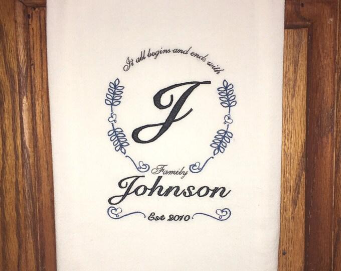 Custom embroidered kitchen towel - flour sack dish towel, family gift, anniversary gift, wedding present, home decor, kitchen decoration