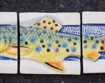 Trout 3 Tile Set, Mirror, Decorative Tile, Handmade
