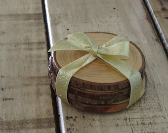 FREE Shipping Rustic Hickory Coasters Set of 4