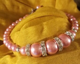 Handmade Beaded Bracelet Pink - Rhinestone Bracelet - Survivor Support - Matching Earring available on Request