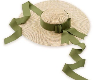 Show flat top eaves straw shade sun protection straw hat olive green straw hat.