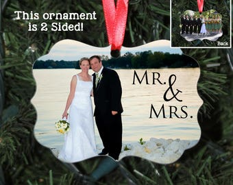 Custom Wedding Photo Christmas Ornament, Benelux Design, Add your own photos, 2-Sided, Personalized