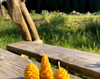 """Set of 3 Beeswax Candles """"Forest gift"""" 