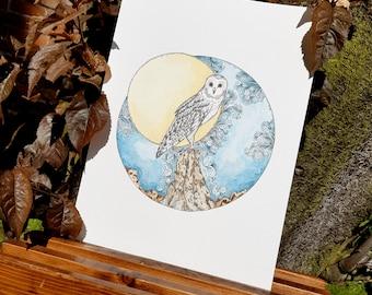 Original Owl Dusk till Dawn A4 Watercolour and Ink