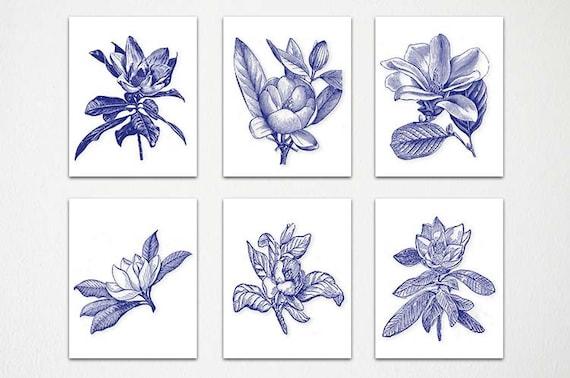 Navy Blue White Wall Art Navy White Botanical Botanical