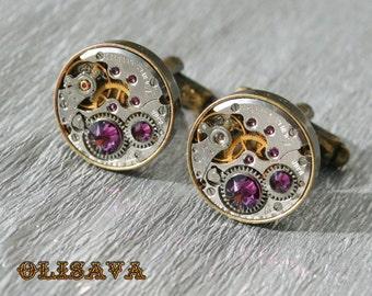 Watch Movement Cufflinks with  Swarovski crystals ,  Steampunk Cufflinks .  Vintage Clockwork Watch Movement Cuff Links - Antique Bronze