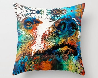 Throw Pillow Colorful COVER Brown Grizzly Bear Art Design Home Sofa Bed Chair Couch Decor Artsy Forest Wood Living Room Bedroom Zoo Animal
