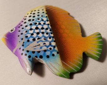TROPICAL FISH - 100% Hand Carved Painted Fish - by the Artist JADO