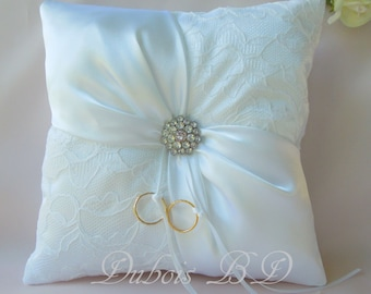 Wedding ring bearer pillow, Ivory or White ring bearer pillow, Lace ring pillow, Ring boy pillow, Sash ring pillow, Wedding pillow