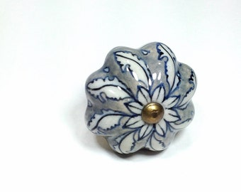 Large Antique Cream and Blue China Style Ceramic Knobs, Antique Drawer Pulls, Bone China Knobs, Distressed Knob, Historical Hardware