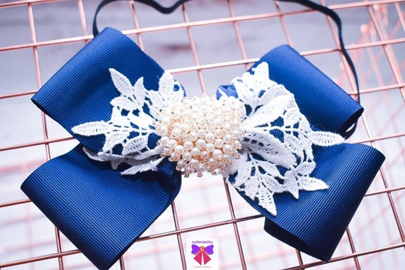 White and Navy Blue Layered Bow with Rhinestone - Baby / Toddler / Girls / Kid Headband / Hairband / Hair bow / Barette / Hairclip / Wedding