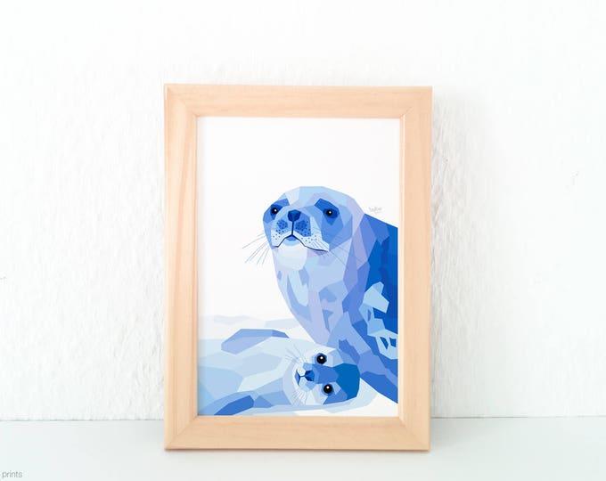 Seal print, Weddell seal wall art, Antarctic seal, Baby seal print, Mother and baby seal, Baby nursery print, Geometric, Animal children