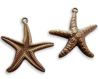 Vintaj Brass Starfish Charm, Starfish Pendant, Brass Starfish