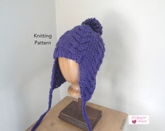 Earflap Hat Knitting Pattern, Super Bulky Yarn, Quick Easy Knit, Ear Warmer Hat with Pom Pom, Horseshoe Cables, Teens Adults