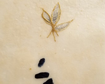 Daily Drawing June 10, 2018 / Leaves of Gold / Wabi Sabi / Mixed Media Drawing with Beeswax