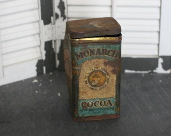Christmas Sale - monarch cocoa tin, antique cocoa tin, antique tin, rustic decor
