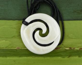 Maori Closed Koru Pendant Necklace, Hand Carved,  Bone, Surfer Necklace, Free Shipping