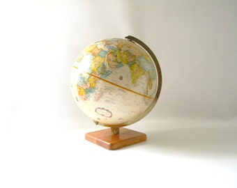 "Vintage Replogle 12"" Globe with Wood Base"