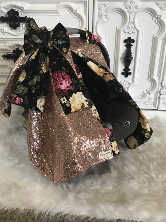 Rose gold and Floral sparkle car seat canopy  ,carseat cover / carseat canopy /sequin / infant car seat cover /  rose gold / sparkle