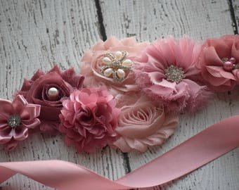 classic mauve  Sash , flower Belt, maternity sash, wedding sash, flower girl sash, maternity sash belt