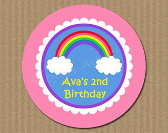 Rainbow Lollipop Stickers - Personalized PRINTABLE Birthday Labels, Favor Tags, Cupcake Topper, Envelope Seals - Pink