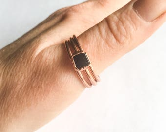 Black Tourmaline Stacking Rings | Rough Black Tourmaline | Raw Black Tourmaline Rings | Electroform Rings | Crystal Rings | Stone Ring |