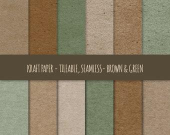Kraft Digital Paper ~ Brown & Green Kraft Paper Tileable ~ Kraft Paper Texture, Seamless Pattern ~ Cardboard Paper Texture Background