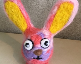 Needle Felted Easter Egg Bunny Rabbit Ornament Decoration
