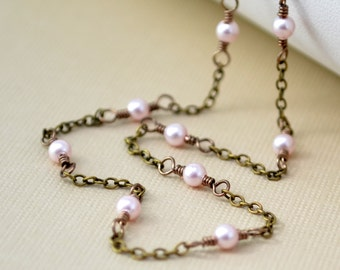 Delicate Pearl Choker, Swarovski Pearl, Antiqued Brass Necklace, Wire Wrapped Jewelry
