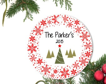 Family Ornament, Personalized Holiday Ornament, Christmas Tree Ornament, Snowflake Ornament, Custom Ornament, Ceramic Ornament, Holiday Gift