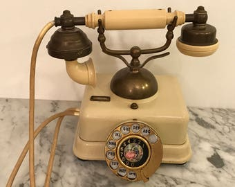Vintage 1950's French Victorian Style Brass & Cream Rotary Telephone
