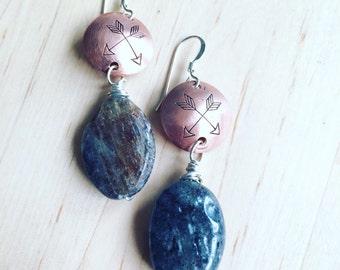 recycled copper handstamped kyanite earrings DOUBLE ARROW