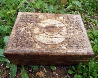 Moon Box Triple Goddess Symbol Handmade Carved Chest Celtic Trinket