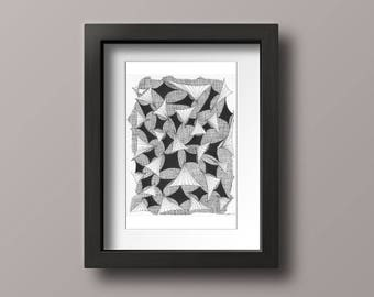 PRINT Flight Abstract Pen Ink Drawing Artwork Contemporary Wall Hanging Interior Design Details Decorating Home Decor