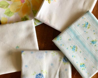 10 Floral Vintage Sheet Fat Quarters (2 of each print)