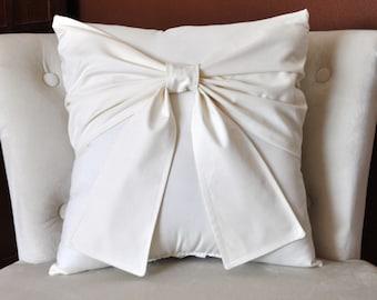 Cream Bow Pillow -Decorative Pillow- 16 x 16