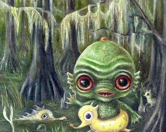 Baby Creature From the Black Lagoon Print,  Swimming Swamp Monsters Pop Surrealism, Lowbrow Children's Decor, Nursery Art