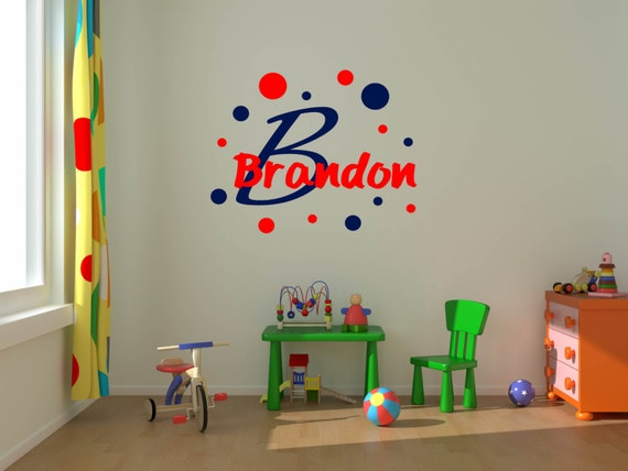 Boys Name Decals, baby nursery wall decals, circus theme decal, polka dots, bubbles, custom boys name decal, baby nursery wall decor