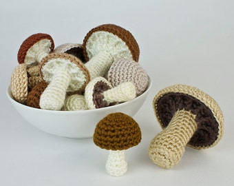PDF Mushroom Collection: six realistic CROCHET PATTERNS