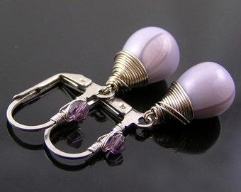 Purple Earrings, Czech Glass Earrings, Stainless Steel Ear Wires, Hypoallergenic Earrings, Purple Jewelry, Lever Back Ear Wires, E2115