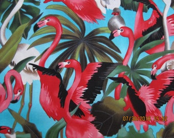 FLAMINGO FABRIC and Foliage on Blue Michael Miller 1/2 Yard - Very rare - #KR12