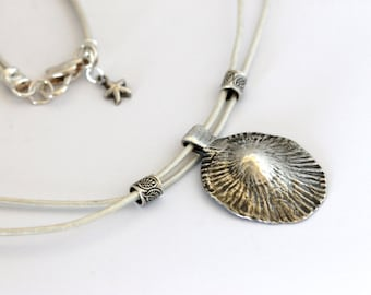 Hawaiian limpet shell necklace | dolphin starfish | fine silver opihi pendant | white leather cord | handmade girlthree | artisan jewelry